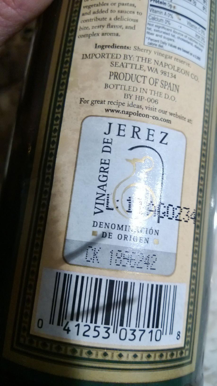 Etiqueta vinagre de Jerez