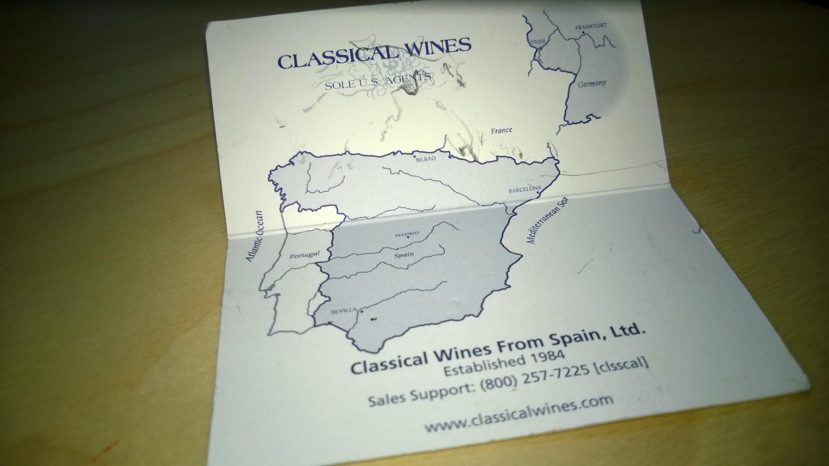 tarjeta Classical wines of Spain